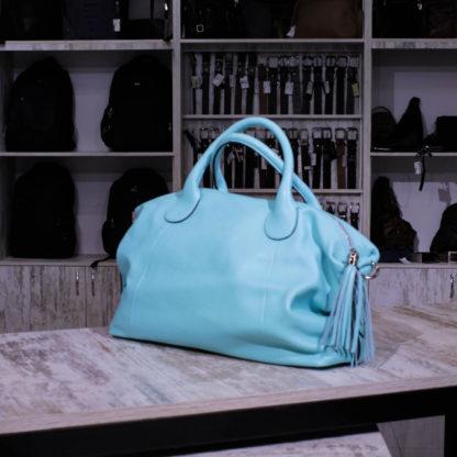 голубая сумка кожаная