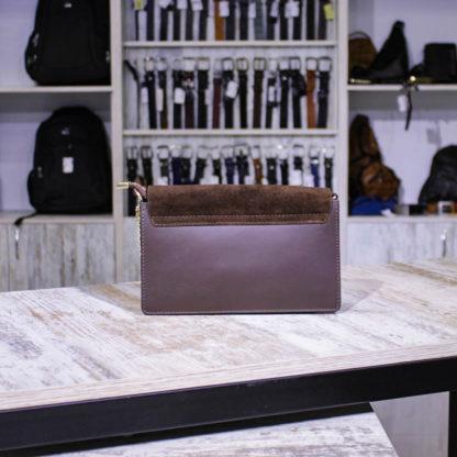 сумка коричневая из замши и кожи