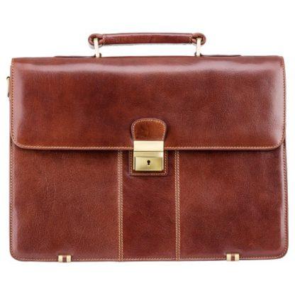 кожаный мужской портфель с замком
