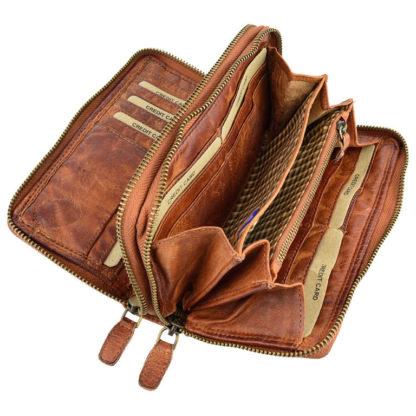 кошелек на две молнии кожаный