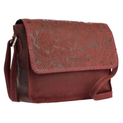 красная женская сумка тисненая