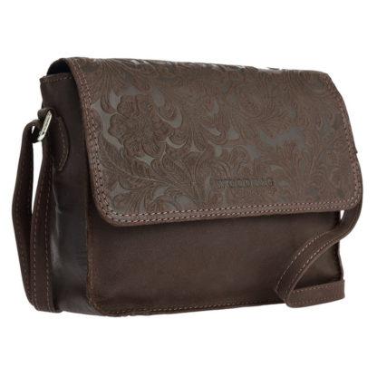 коричневая женская сумка тисненая