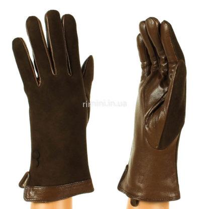 Перчатки женские замша+кожа F2Brown