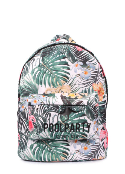 Рюкзак POOLPARTY с тропическим принтом белый