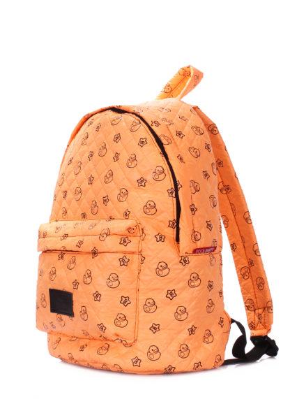 Рюкзак стеганый с уточками POOLPARTY оранжевый