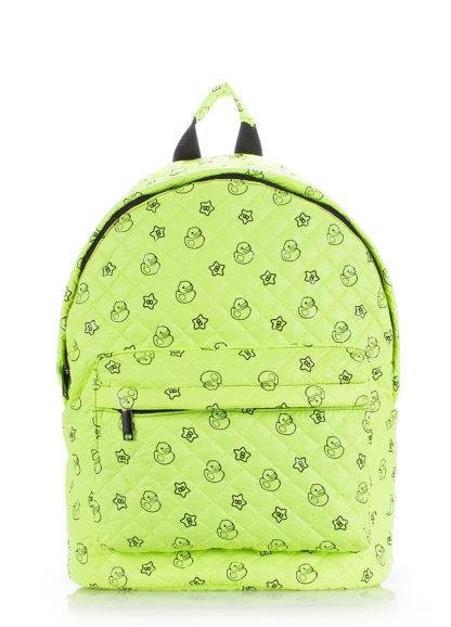 Рюкзак стеганый с уточками POOLPARTY зеленый