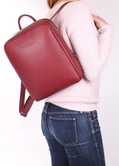 Рюкзак женский кожаный POOLPARTY Cult бордовый