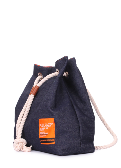Джинсовый рюкзак на завязках синий