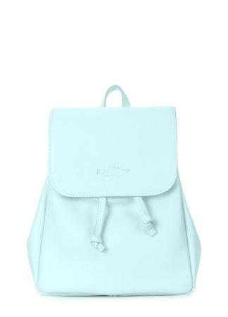 Голубой кожаный рюкзак на завязках POOLPARTY Paris