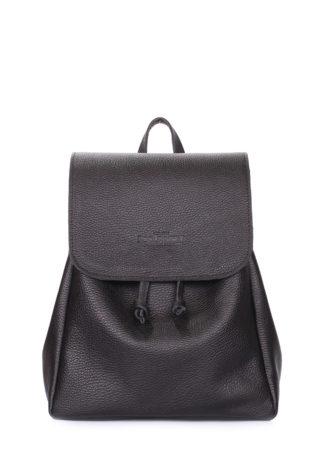 Черный рюкзак кожаный на завязках POOLPARTY Paris