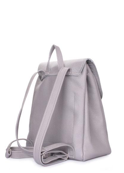 Серый кожаный рюкзак на завязках POOLPARTY Paris