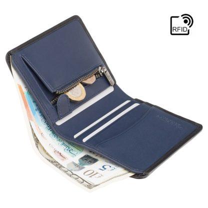 Кошелек мужской Visconti PLR70 Piana c RFID (Black-Steel Blue)