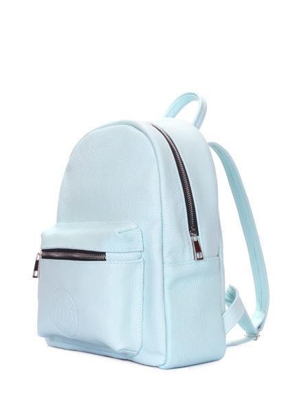 Голубой кожаный рюкзак POOLPARTY XS голубой