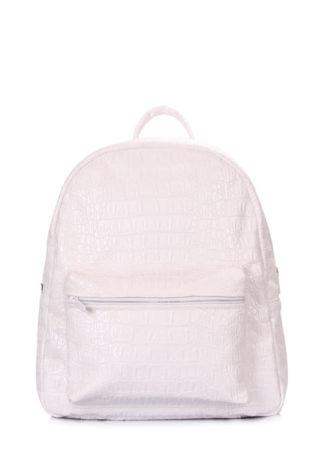 Белый рюкзак XS с тиснением под крокодила белый