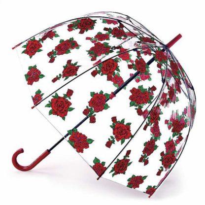 Зонт-трость женский Fulton L042 Birdcage-2 Tattoo Rose (Тату из роз)