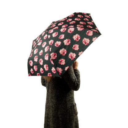 Зонт женский Fulton Open&Close Superslim-2 L711 Rosie Pin Spot (Розовые розы)