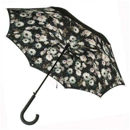 Зонт-трость женский Fulton Bloomsbury-2 L754 Mono Bouquet (Черно-белый букет)
