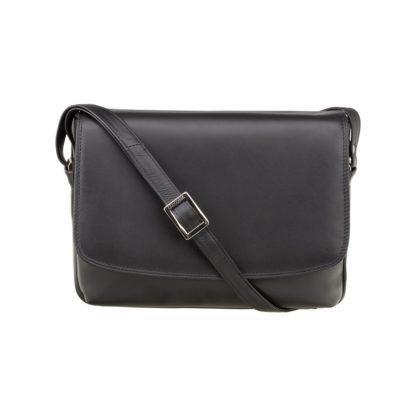 Кожаная женская сумка через плечо черная Visconti 3190 Claudia (Black)