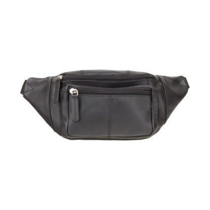 Кожаная сумка на пояс (бананка) черная Visconti 720 Bumbag (Black)
