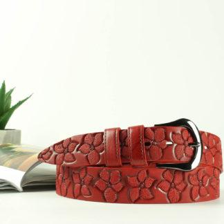 Женский кожаный ремень 00819 красный