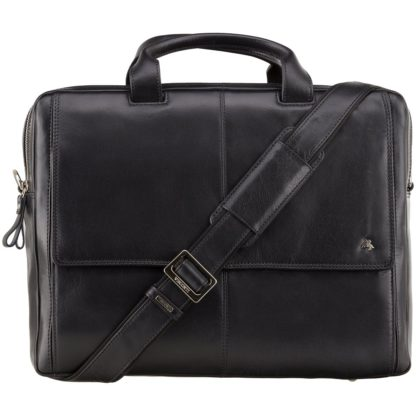 Кожаная сумка для ноутбука мужская черная Visconti ML24 (Black)