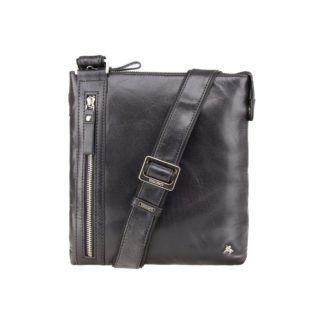 Мужская кожаная сумка на плечо черная Visconti ML25 (Black)