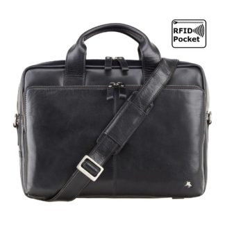 "Кожаная мужская сумка для ноутбука 13"" черная Visconti ML30 (Black) c RFID"