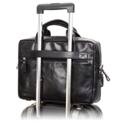Кожаная мужская сумка для ноутбука черная Visconti ML30 (Black) c RFID