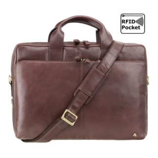 "Кожаная мужская сумка для ноутбука 13"" коричневая Visconti ML30 (Brown) c RFID"