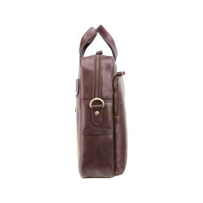 Кожаная мужская сумка для ноутбука коричневая Visconti ML30 (Brown) c RFID