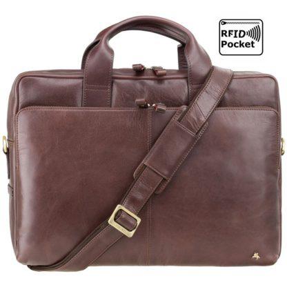 Кожаная сумка для ноутбука 15 дюймов Visconti ML31 (Brown) коричневая