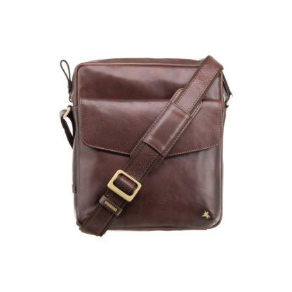 Мужская кожаная сумка на плечо коричневая Visconti ML36 Vesper A5 (Brown)