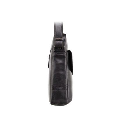 Мужская кожаная сумка на плечо черная Visconti ML36 Vesper A5 (Black)