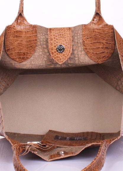 Кожаная сумка POOLPARTY Amphibia, amphibia-croco-beige