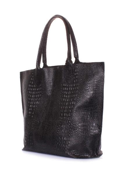 Кожаная сумка POOLPARTY Amphibia, amphibia-croco-black