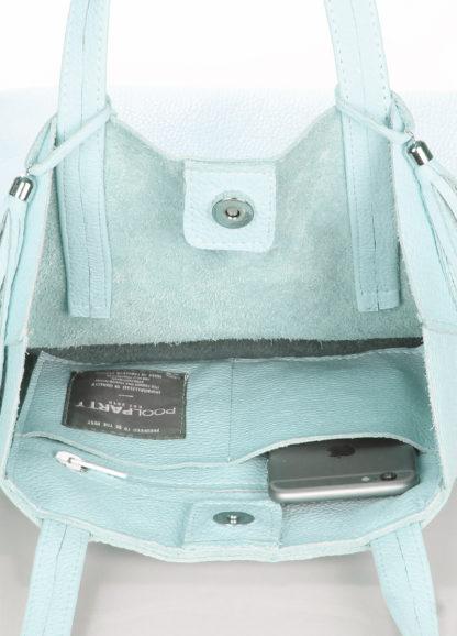Голубая кожаная сумка POOLPARTY Angel, angel-babyblue