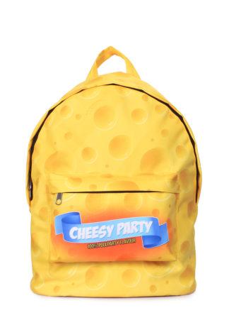 Рюкзак CHEESY PARTY с сырным принтом желтый