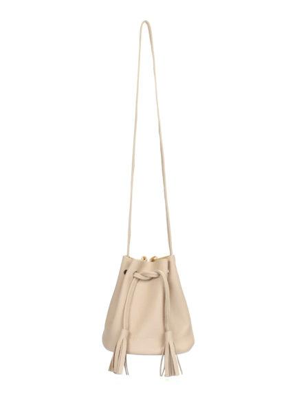 Бежевая кожаная сумочка Bucket на завязках, bucket-beige