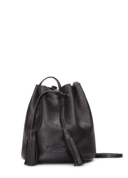 Черная кожаная сумочка на завязках Bucket, bucket-black