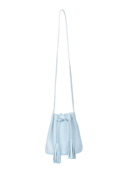 Голубая кожаная сумочка на завязках Bucket, bucket-blue