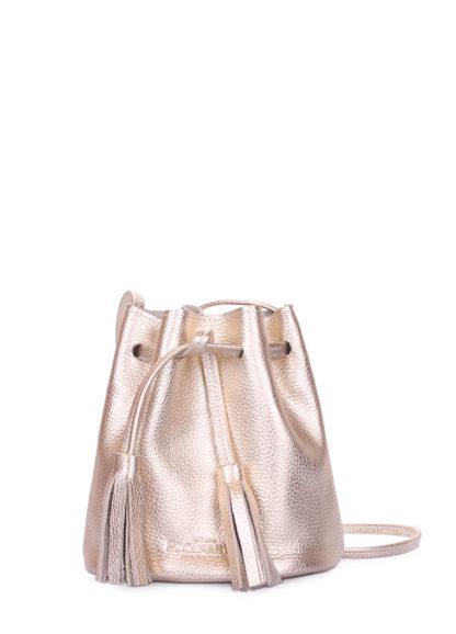 Золотая кожаная сумочка на завязках Bucket, bucket-gold