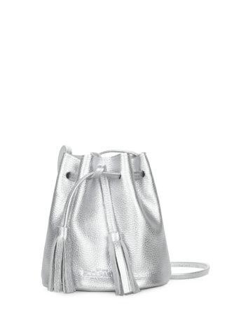 Серебряная кожаная сумочка на завязках Bucket, bucket-silver