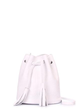 Белая кожаная сумочка на завязках Bucket, bucket-white