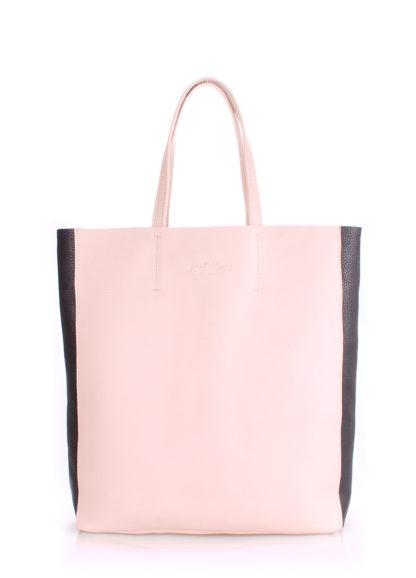 Кожаная сумка POOLPARTY City, city2-beige-black