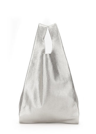 Кожаная сумка POOLPARTY Tote, leather-tote-silver