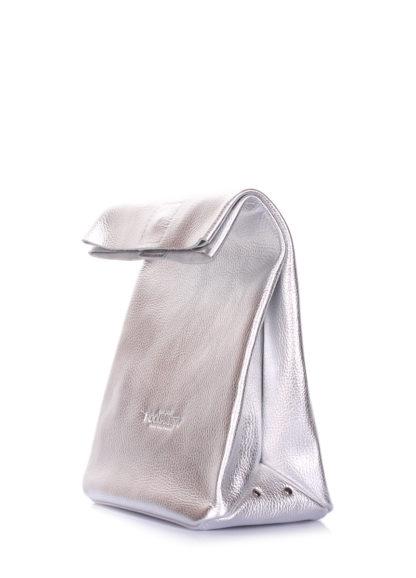 Кожаная сумка-клатч POOLPARTY Lunchbox, lunchbox-silver