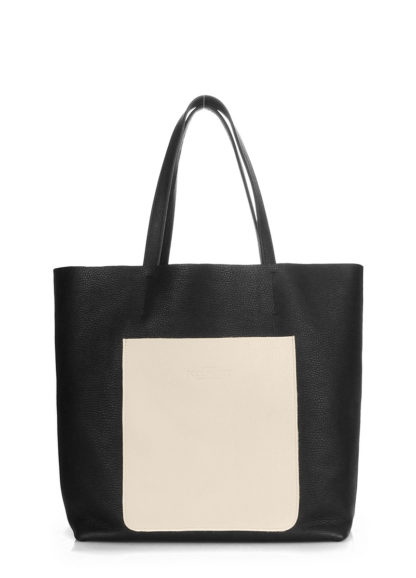 Кожаная сумка POOLPARTY Mania, mania-black-beige
