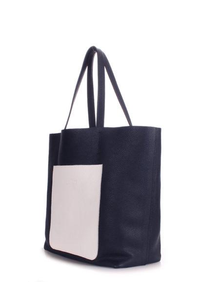 Кожаная сумка POOLPARTY Mania, mania-darkblue-white