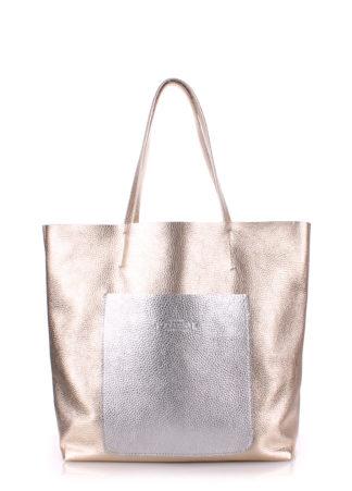 Кожаная сумка POOLPARTY Mania, mania-golden-silver