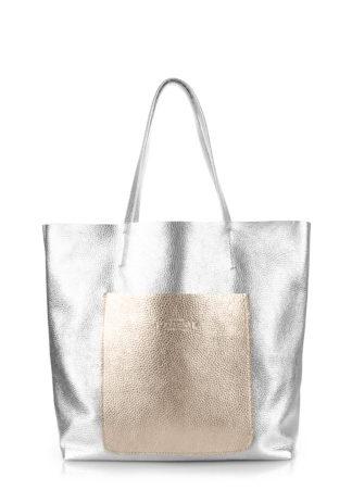 Кожаная сумка POOLPARTY Mania, mania-silver-gold
